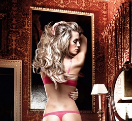 Raspberry Pink Mesh And Lace Thong With Bow