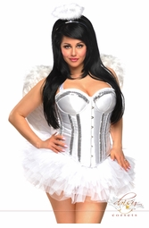 White Corset Angel 4-Piece Costume with Silver Trim