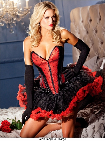 Red Satin Zip Front Corset