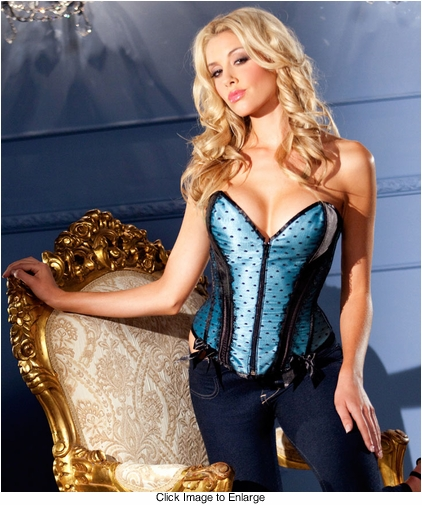 Blue Satin Zip Front Corset (available up to size 38)