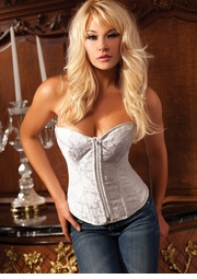 Our Best Selling White Brocade Corset with Zipper Front