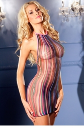 Multicolored Fishnet Mini Dress