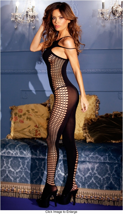 Opaque Bodystocking with Crochet Sides
