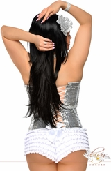 Silver Sequin Corset with Lace-Up Back