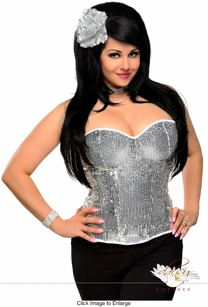 Silver Sequin Underwire Zipper Corset Top