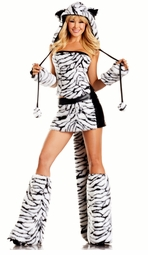 8-Piece Siberian Tiger Faux Fur Corset Costume