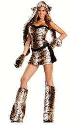 6-Piece Tempting Tiger Faux Fur Corset Costume
