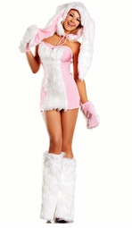 6-Piece Faux Fur Bunny Costume