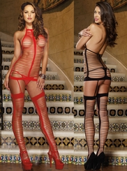 Net Halter Garter Dress with Stockings