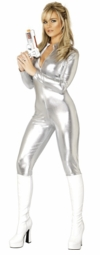 Silver Zip Front Catsuit Leotard