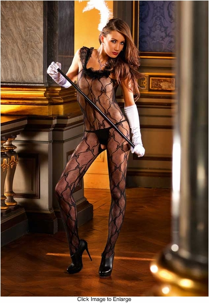Bow Lace Bodystocking with Ruffle Trim