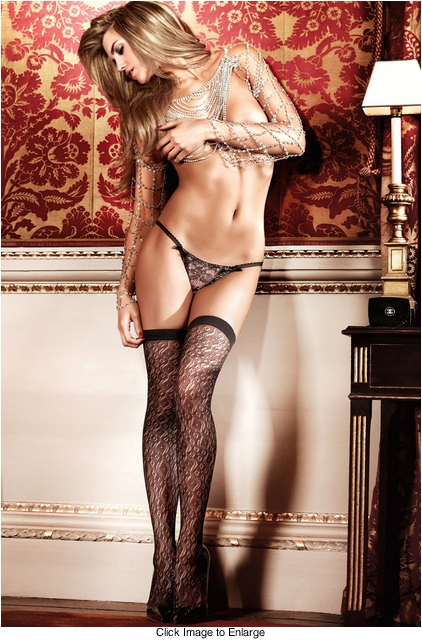 Diamond Lace Thigh High Stockings