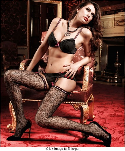 Floral Lace Stockings with Pink Ribbon Top