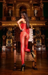 Red Fishnet Bodystocking with Contrast Black Trim