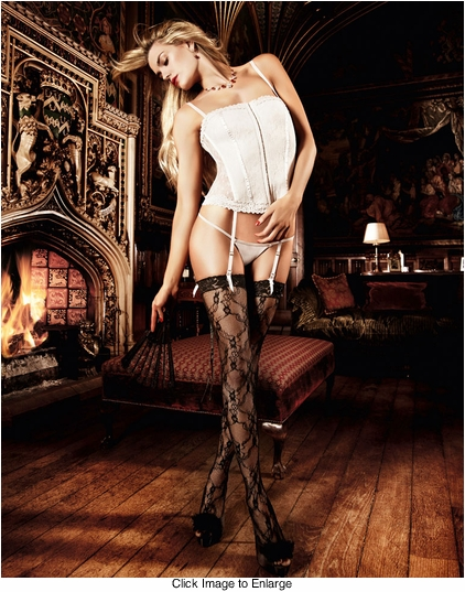 Lace-Up Back Stockings in Black Lace