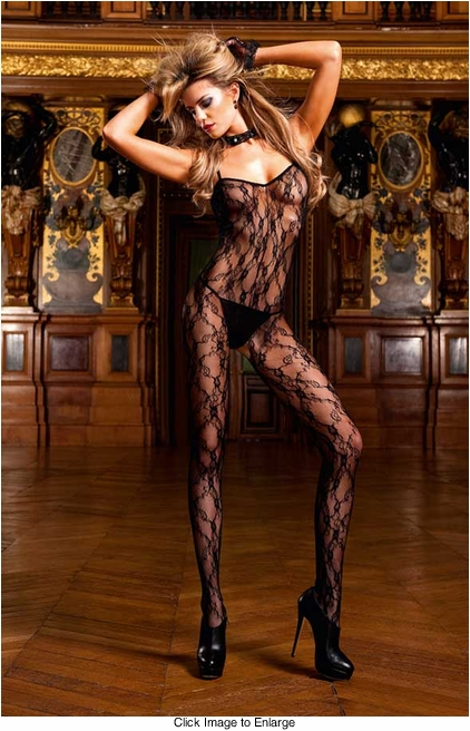 Floral Lace Bodystocking with Criss Cross Back