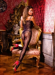 Floral Bodystocking with Lace-Up Front