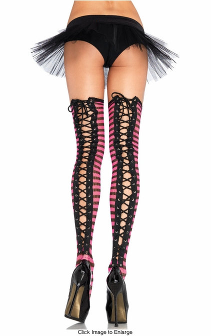 Stripe Fishnet Thigh Highs with Lace-Up Back