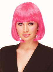 Hot Pink Bob Wig with Bangs Cindy