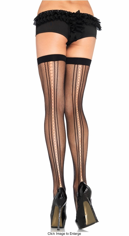 Fishnet Stockings with Keyhose Backseam