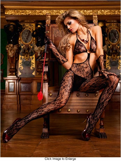O-Ring Floral Bodystocking with Open Sides and Back