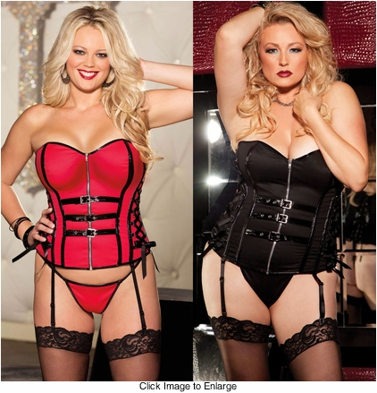 Plus Size Twill Corset with Buckles