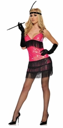 Pink Flapper Costume with Headband and Gloves