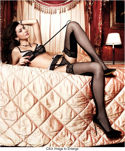 Sheer Front Opaque Back Stockings with Lace Top
