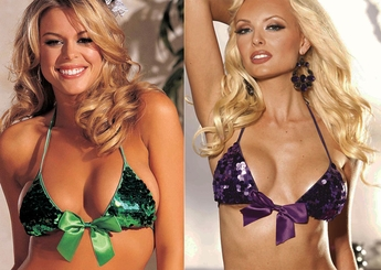 Sequin Bikini Top with Removable Bow