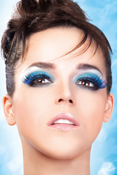 Blue and Purple Feathered False Lashes