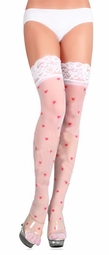 Queen of Hearts Sheer Stockings with Lace Top and Hearts