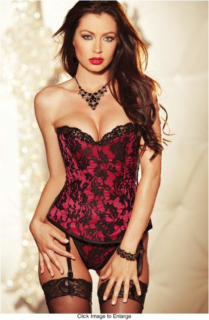Cherry Pink Satin Corset with Metallic Lace Overlay and Lace-Up Back (available up to size 38)