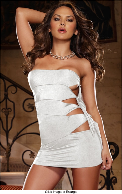 Knit Mini Dress with Tie Side Cut Outs and Thong