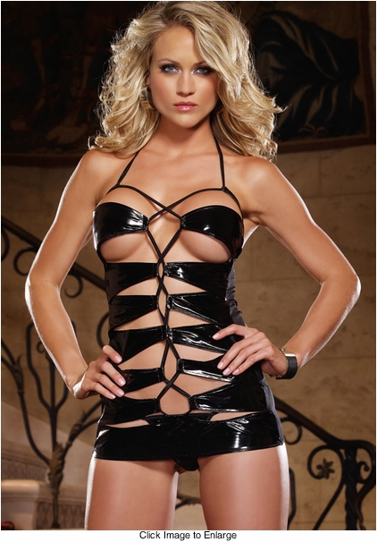 Patent Leather Strappy Mini Dress and Thong