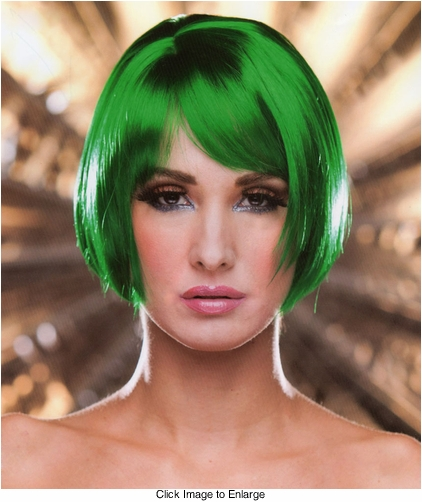 Short Bob Wig in Emerald Green