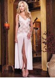 White Lace and Chiffon Gown Slip