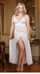 Plus Size White Lace and Chiffon Gown Slip