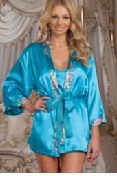 Blue Satin Robe and Thong