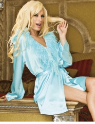 Aqua Blue Silky Robe with Feather Trim