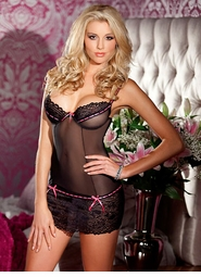 Lace and Mesh Mini Dress with Underwire Cups and Thong