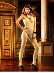 Yellow Fishnet Bodystocking with Open Back