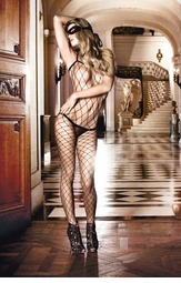 Fence Net Bodystocking with Spaghetti Straps