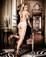 Sheer Thigh High Stockings with Woven Garter Detail
