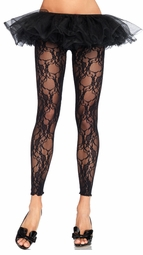Floral Lace Footless Tights