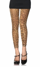 Lurex Leopard Print Footless Tights