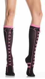 Black and Pink Lurex Lacing Knee Highs