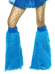 Plush Furry Turquoise Blue Leg Warmers