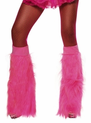 Plush Fuchsia Furry Leg Warmers
