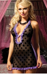Purple and Black Polka Dot Mini Dress