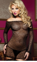 Sheer Lace Black Mini Dress with Long Sleeves